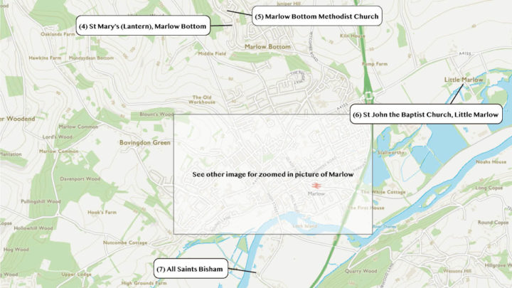 Locations outside of Marlow on the Easter Trail